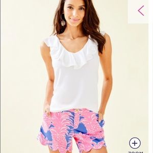 Lilly Pulitzer Tops - Lilly Pulitzer White Alessia Ruffle Tank Top